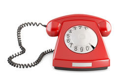 Red vintage telephone  on white background. Front view. Royalty Free Stock Images