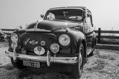 Red vintage Topolino car. Verona, Italy - September 27, 2014: Topolino Autoclub Italia organizes a gathering on Lake Garda. Cars and enthusiasts from all over Royalty Free Stock Image