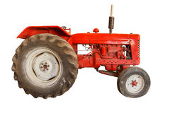 Red Vintage Tractor Isolated On White Background.