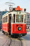 Red vintage tram in Istanbul Royalty Free Stock Images