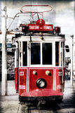 Red vintage tram in Istanbul with filter applied Stock Photo
