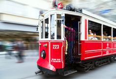 Red vintage tram in Istanbul Stock Photo