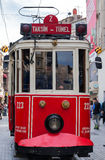 Red vintage tram in Istanbul Royalty Free Stock Photo