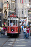 Red vintage tram on Taksim square in Istanbul, Turkey Stock Photography