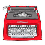 Red vintage typewriter cute art painting  illustration Royalty Free Stock Photo