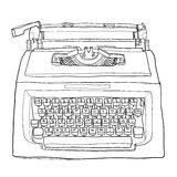 Red vintage typewriter cute line art painting  illustration Royalty Free Stock Images