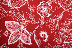 Red vintage wallpaper. With white vignette victorian pattern stock photo
