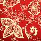 Red vintage wallpaper with white vignette victorian pattern. Square toned image stock photography