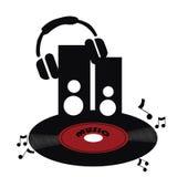 Red vinyl with headphones Stock Image