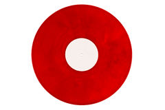 Red vinyl record on a white background Stock Image