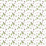 Red and violet blackberries on white background. Seamless watercolor pattern Stock Photos