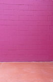 Red Violet Cinder Block Brick Wall Rose Floor Background Royalty Free Stock Photography