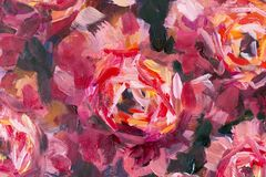 Red violet flowers rose peony texture oil painting. Abstract hand-paintet flowers background stock illustration