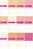 Red violet and gold tips colored geometric patterns calendar 2016 Royalty Free Stock Images
