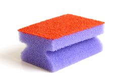 Red and violet sponge. On a white background Royalty Free Stock Photography