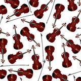Red violins. Seamless background with red violins and bow Stock Photo