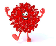 Red virus with arms, legs and face Royalty Free Stock Image