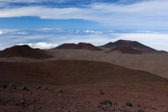 Red and Volcanic craters on Mauna kea Royalty Free Stock Images