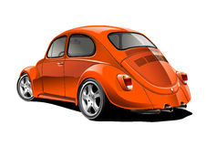 Red volkswagen. Red classic car on white background Stock Images