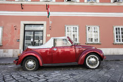 Red Volkswagen Beetle. On a city street Royalty Free Stock Photography