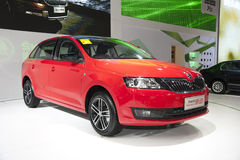 Red volkswagen skoda rapid space back car. New red volkswagen skoda rapid space back car in 2014 the 10th zhengzhou dahe spring international auto show.take from Royalty Free Stock Photography
