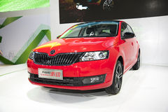 Red volkswagen skoda rapid space back car. New red volkswagen skoda rapid space back car in 2014 the 10th zhengzhou dahe spring international auto show.take from Royalty Free Stock Photo