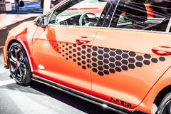 Red Volkswagen VW New Golf GTI TCR Performance, Brussels Motor Show 7th gen MK7 MQB platform Typ 5G produced by Volkswagen