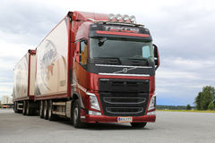 Red Volvo FH Cargo Truck on Truck Stop stock image