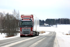 Red Volvo FH16 Cargo Truck Winter Road Landscape stock photos