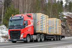 Red Volvo FH Semi Trailer Transport royalty free stock images