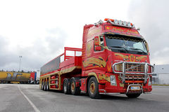 Red Volvo FH with Special Trailer Royalty Free Stock Photography