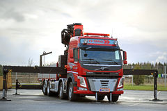 Red Volvo FM Truck equipped with Heavy Crane Royalty Free Stock Images