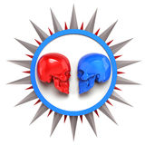 Red vs blue metallic painted shiny skulls on white plate with shine spike star around, render. isolated   background, dj Stock Photos
