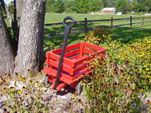 Red Wagon. In landscape display Stock Image