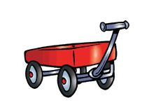 Red Wagon Stock Photo