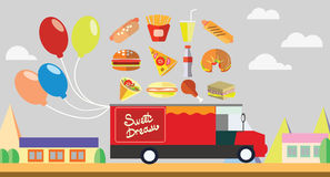 Red wagon fast food with balloons Stock Images