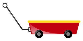 Red wagon with handle Royalty Free Stock Photography