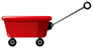 Red wagon with handle. Illustration Royalty Free Stock Image