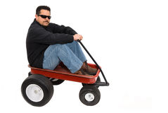 Red wagon and man royalty free stock photography