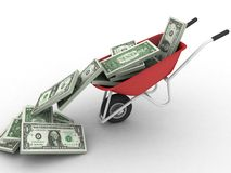 Red wagon with money Stock Photography