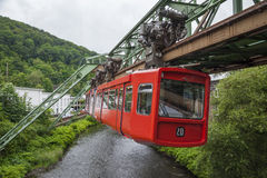 Red wagon of Wuppertal Suspension Railway Stock Photography