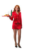Red waitress. Beautiful waitress in red dress, isolated on white Royalty Free Stock Photo