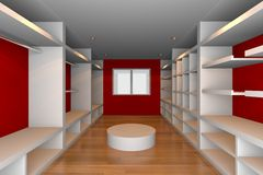 Red walk-in closet Royalty Free Stock Photography