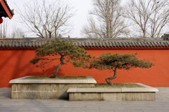 Red Wall. Plain Red Wall With Chinese Style Roof Stock Images