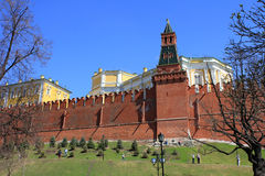 Red wall along the Kremlin complex in Moscow. Architectural and historical sight Royalty Free Stock Image