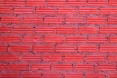 Red wall from bricks for background. Stock Photo