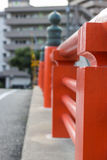 Red Wall of Bridge in Yamaguchi City, Japan. A red wall of bridge in Yamaguchi City, Japan Royalty Free Stock Photo