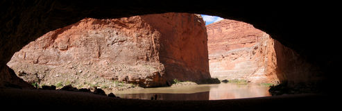 Red Wall Cavern Panorama. Panorama of Red Wall Cavern, Grand Canyon of the Colorado River National Park, Arizona Royalty Free Stock Photos