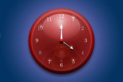 Red wall clock Stock Photos