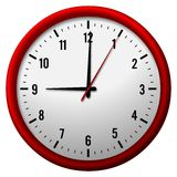 Red wall clock Royalty Free Stock Image